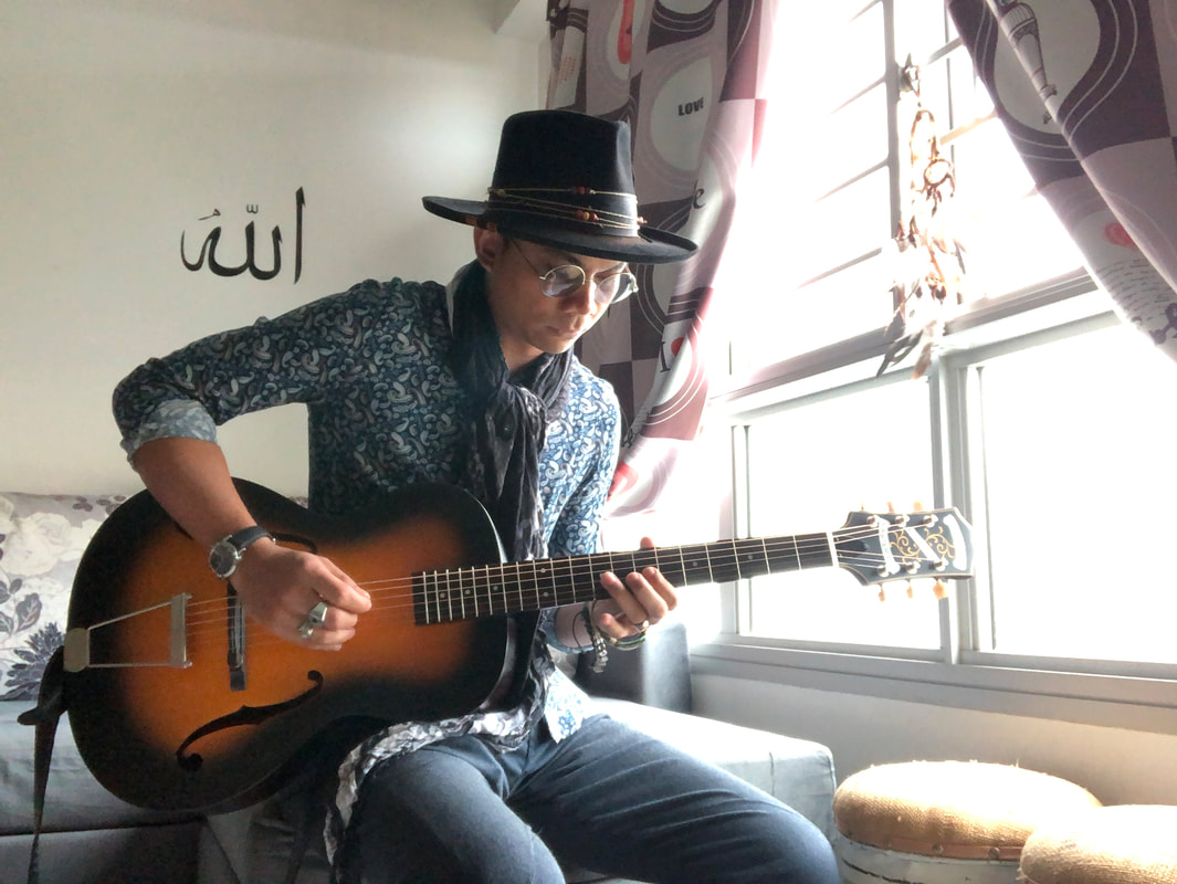 Mellow Blues Acoustic Guitarist Singer Songwriter Acoustic Blues Folk Jazz Indie Rock Reggae Gypsy Archtop Guitar Epiphone Century Men Summer Fashion Style Guitar Lessons in Singapore