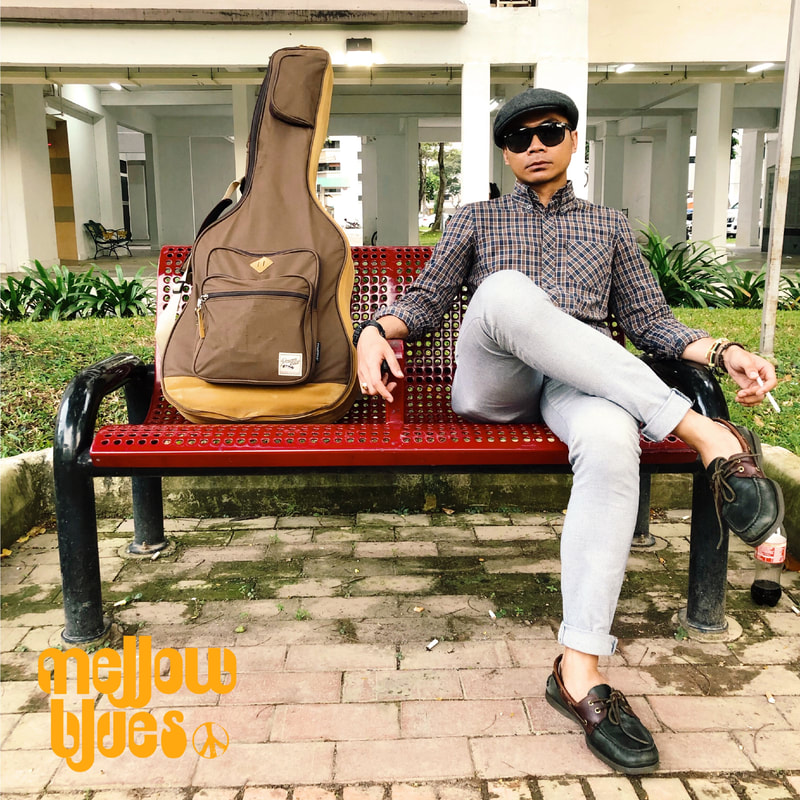 Mellow Blues Guitarist Singer Songwriter Blues Funk Reggae Jazz Acoustic Indie Folk Rock n Roll Mod Smart Casual Singapore South East Asia Men Summer Fashion Style Ibanez Powerpad Acoustic gig bag Brixton Flatcap Ben Sherman Check shirt