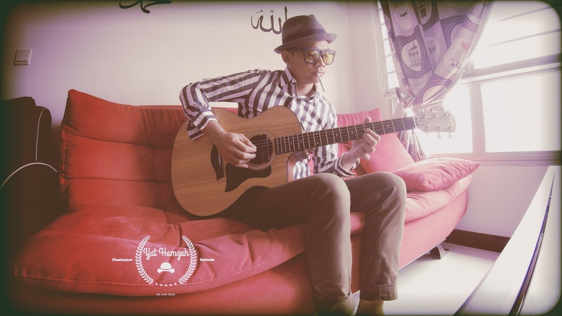 Yat Hamzah Flamboyant Guitarist Indie Gypsy Jazz Blues Ska Jazz Reggae Jazz Music Artist Fred Perry Japan Stringy Fedora Hat Men Brixton Acoustic Taylor Guitar 2 tone rude boy fashion style vintage
